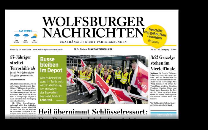 Die gedruckte Ausgabe der Wolfsburger Nachrichten.